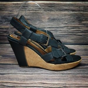 Sofft CARK Leather Cork Wedges Strappy Sandals 9 M